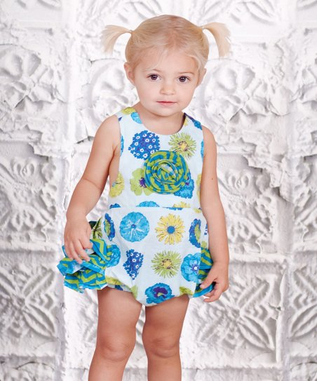 Blue & Green Floral Baby Bubble Ruffle Romper - Infant