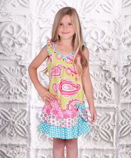 Yellow & Aqua Paisley Twirly Girl Dress - Toddler & Girls