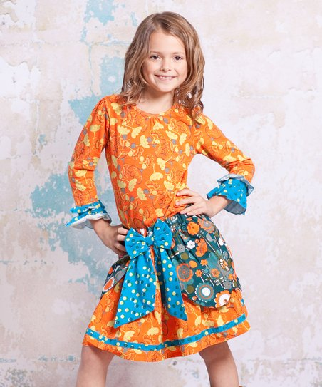 Teal & Orange Bow Top & Skirt - Infant, Toddler & Girls