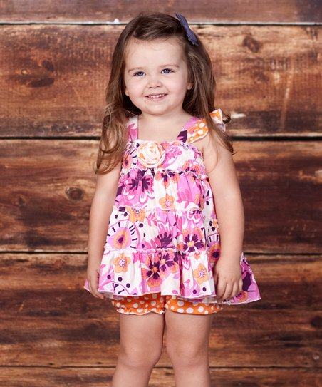 Fuchsia & Orange Floral Dress - Infant