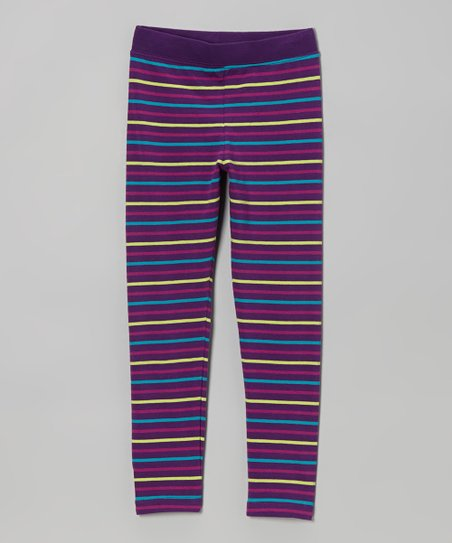 Eggplant Stripe Leggings - Toddler