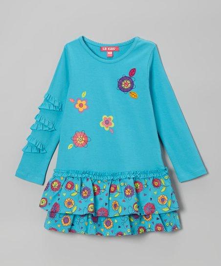 Turquoise Floral Ruffle Dress - Toddler & Girls