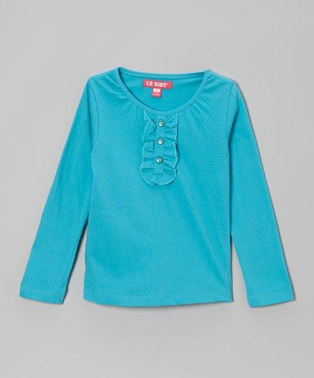 Turquoise Ruffle Henley - Toddler & Girls