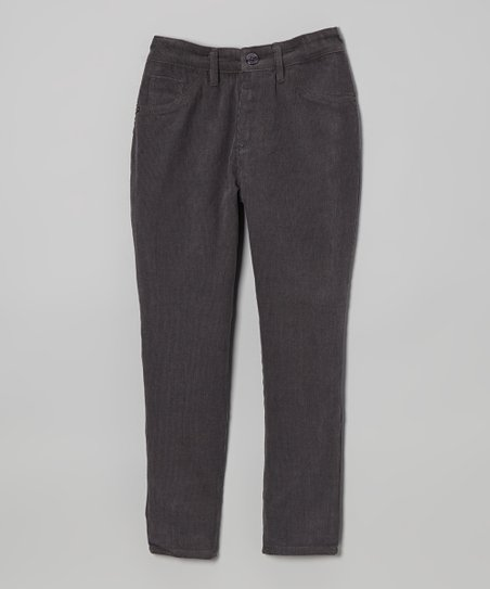 Charcoal Stretch Corduroy Skinny Pants - Toddler & Girls