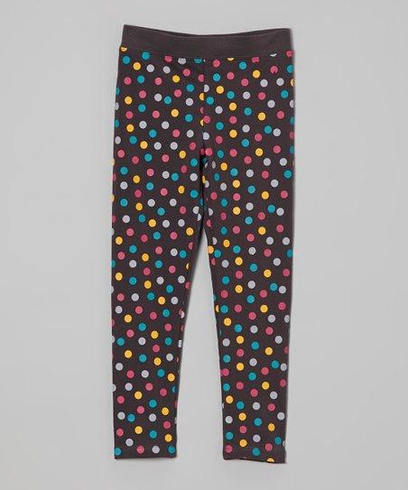 Charcoal Polka Dot Leggings - Infant, Toddler & Girls