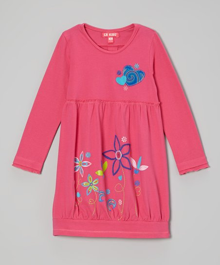 Pink Hearts & Flowers Bubble Dress – Infant, Toddler & Girls