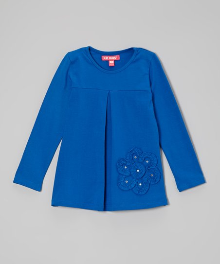 Electric Blue Pin Tuck Flower Tunic - Infant, Toddler & Girls