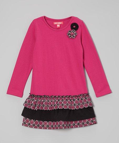 Fuchsia Ruffle Drop-Waist Dress - Toddler & Girls
