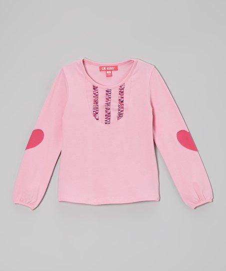 Light Pink Heart Elbow Patch Tee - Toddler