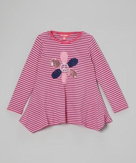 Pink Stripe Peace & Flowers Tunic - Toddler & Girls