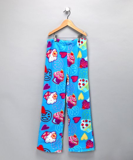 Blue Peace Love Cupcake Pajama Pants - Girls