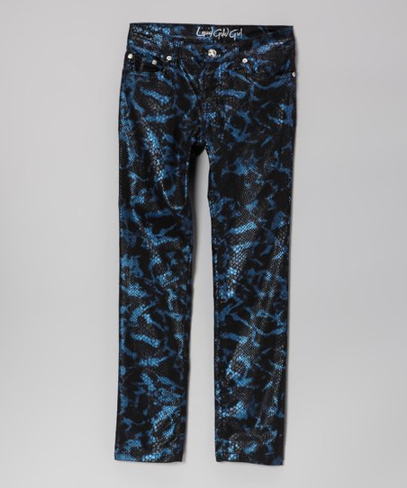 Blue & Black Snakeskin Skinny Jeans - Girls