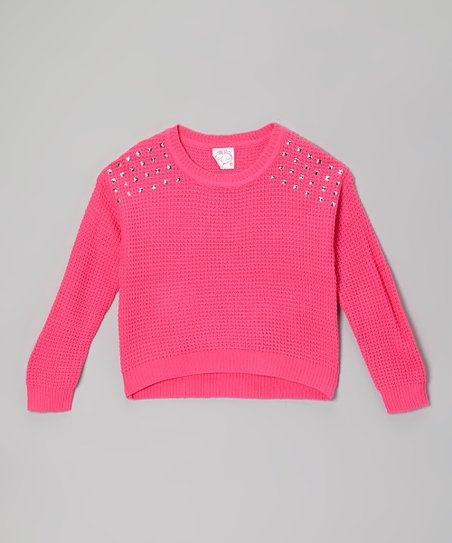 Fuchsia Studded-Shoulder Sweater - Girls