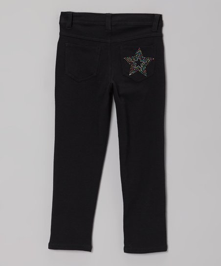 Black Rhinestone Star Skinny Jeans - Toddler & Girls