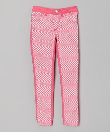 Hot Pink & White Checkerboard Skinny Jeans - Girls