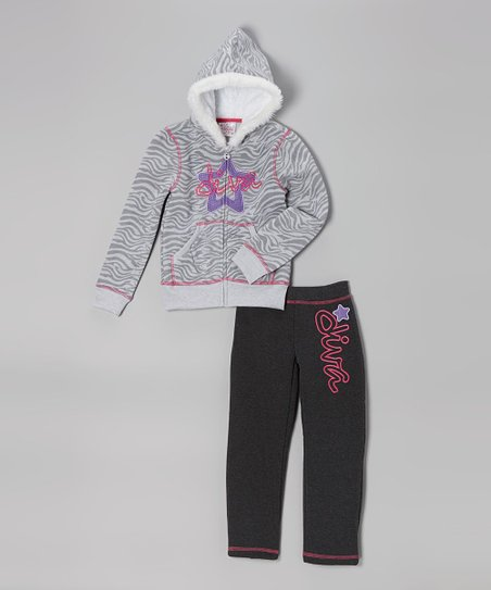 Gray 'Diva' Zebra Faux Fur Hoodie & Sweatpants - Girls