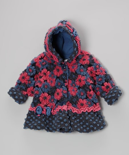 Navy Blooms Away Hooded Swing Coat - Infant & Toddler