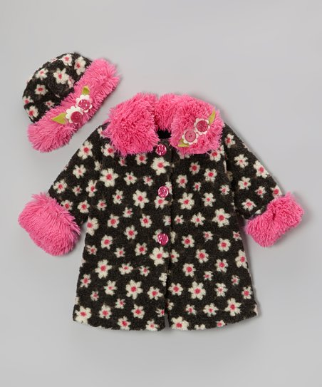 Black Lola Flower Sweet Pea Coat & Hat - Infant, Toddler & Girls