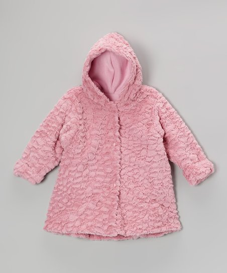 Rose Wave Faux Fur Hooded Swing Coat - Infant & Toddler