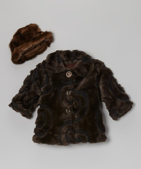Brown Faux Fur Sweet Pea Coat & Hat - Infant