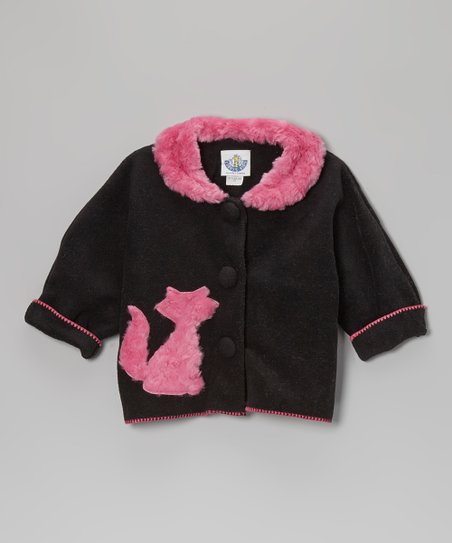 Black Cat Faux Fur Jacket - Infant, Toddler & Girls