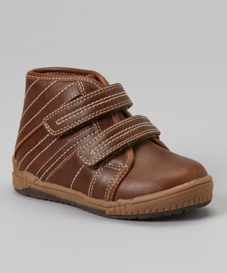 Brown Double-Strap Hi-Top Sneaker