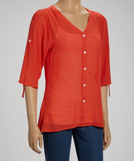 Orange Red V-Neck Button-Up