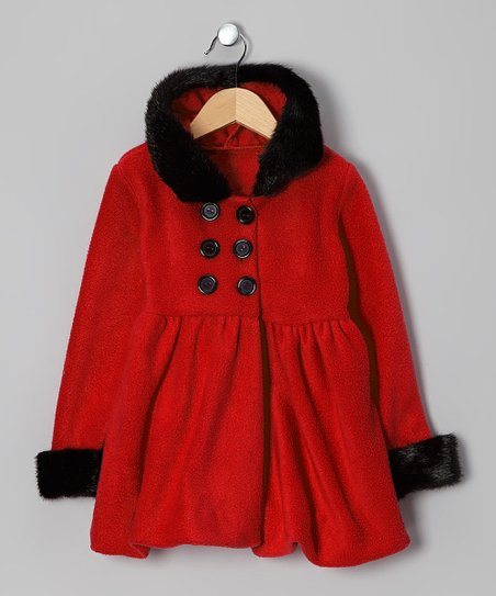 Red & Black Faux Fur Hooded Coat - Infant, Toddler & Girls