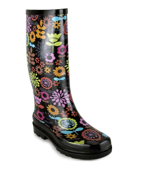 Black Flower Rain Boot