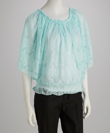 Aqua Lace Angel-Sleeve Top