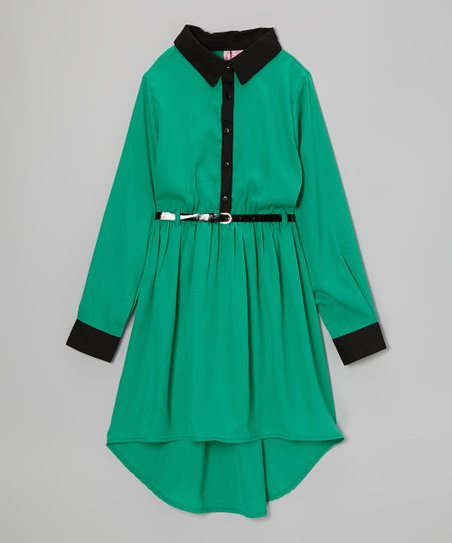 Jade Hi-Low Belted Dress - Girls