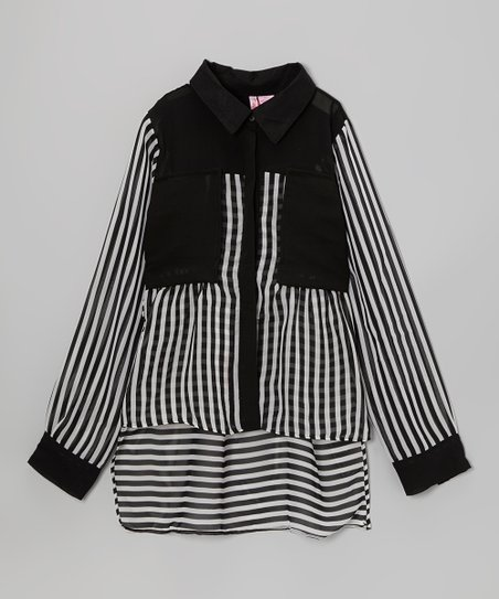 Black & White Stripe Ruffle Button-Up - Girls