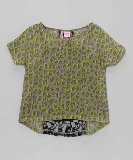 Lime Lace Dolman Top - Girls