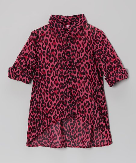 Fuchsia Lace Leopard Button-Up - Toddler