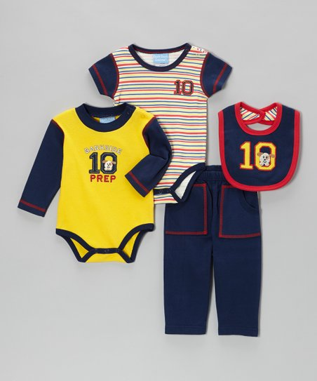 Navy & Yellow 'Barkside Prep' Bodysuit Set - Infant