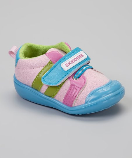 Pink & Blue Stripe Casual Sport Gripper Shoe