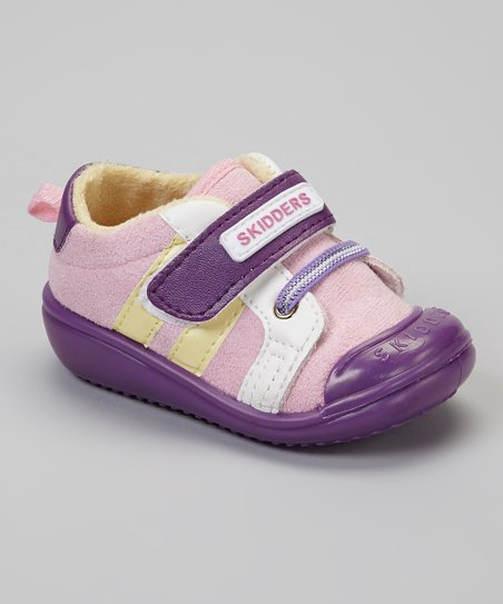 Purple & Pink Stripe Casual Sport Gripper Shoe