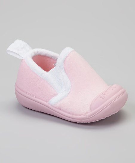 Light Pink & White Slip-On Gripper Slipper
