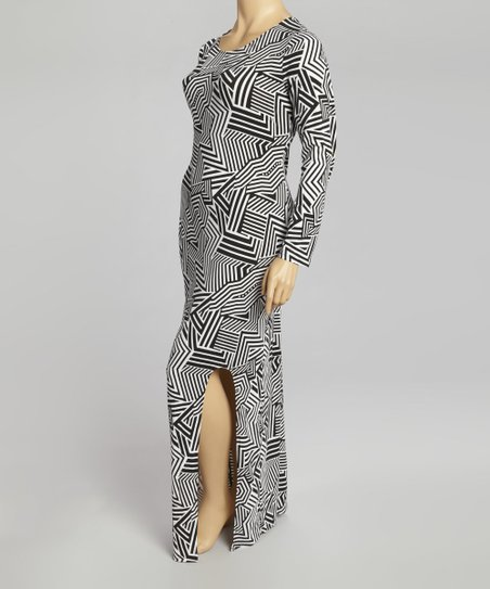 Black & White Geometric Maxi Dress - Plus