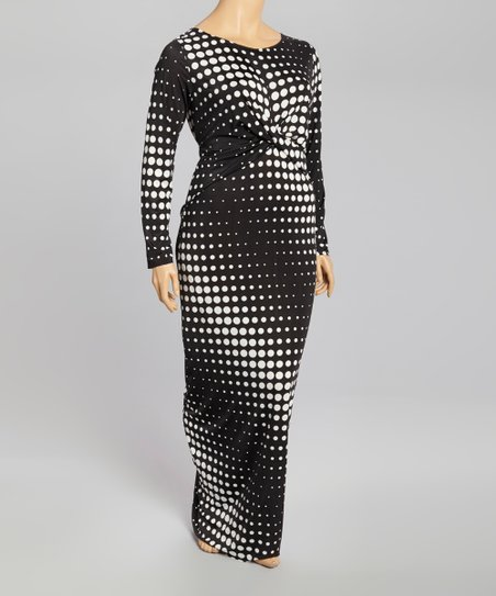 Black & White Polka Dot Twist Maxi Dress - Plus