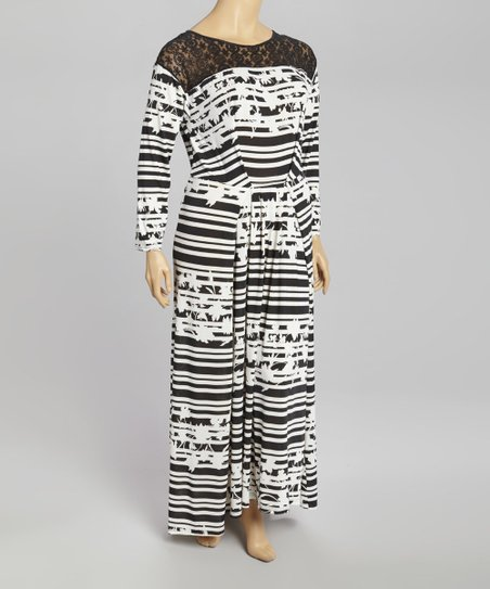 Black & White Embossed Stripe Lace Maxi Dress - Plus