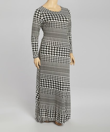 Black & White Houndstooth Maxi Dress - Plus