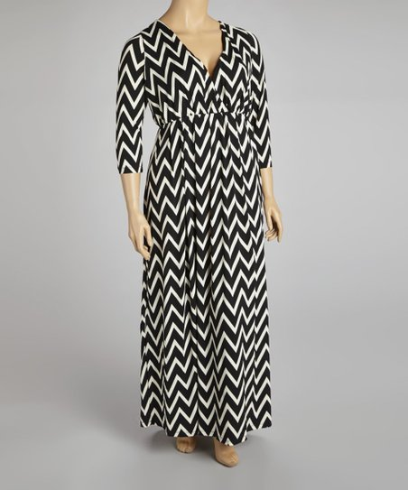 Black & White Bold Zigzag Surplice Maxi Dress - Plus