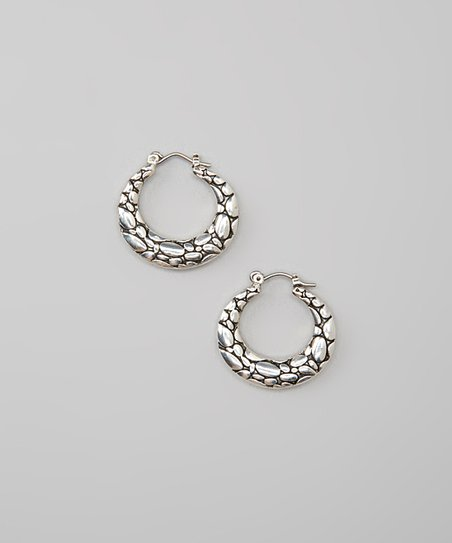 Antiqued Silver Bali Pebbled Hoop Earrings
