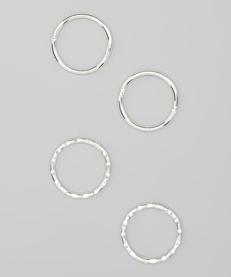Silver 12-mm Faceted Hoop Earrings Set