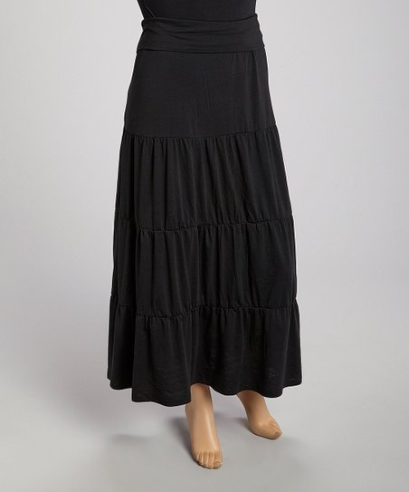 Black Peasant Maxi Skirt - Plus