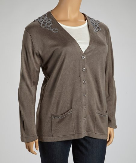 Gray Embroidered V-Neck Cardigan - Plus