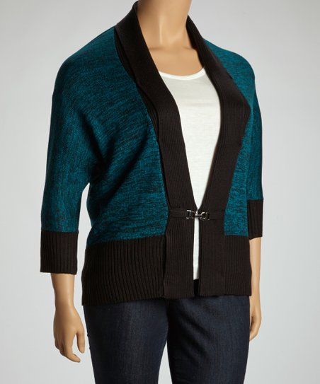 Teal & Black Marled Cardigan - Plus
