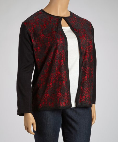 Red & Black Lace Crewneck Cardigan - Plus