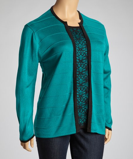 Teal & Black Lace Sweater - Plus